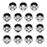 Glyph monkey face expressions Royalty Free Stock Photography