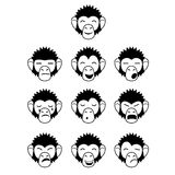 Glyph monkey face expressions Stock Photo