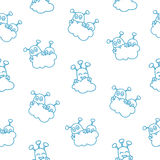 Glyph sky aliens. White glyph style seamless pattern with aliens hiding behind the clouds Stock Photo