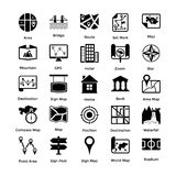 Glyph Style Maps and Navigations Icons Set. Maps and navigations are very important for traveling and adventures!Here are a rich collection of 108 icons of maps Stock Photography