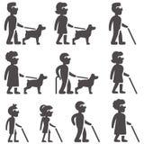 Glyphpictogrammen van blinde mensen in verschillend leeftijden en geslacht met Stock Fotografie
