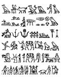 Glyphs. A collection of black hieroglyphs on a white background stock illustration