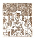 Glyphs gráficos del maya del vintage, inca y ornamentos aztecas y símbolos del zodiaco en viejo estilo indio americano Vector stock de ilustración