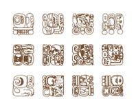 Glyphs gráficos do maya do vintage, inca e ornamento astecas e símbolos do zodíaco no estilo indiano americano velho Vetor ilustração royalty free