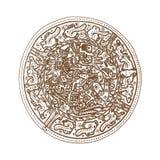 Glyphs gráficos do maya do vintage, inca e ornamento astecas e símbolos do zodíaco no estilo indiano americano velho Vetor ilustração do vetor