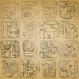 Glyphs maias e astecas Imagens de Stock Royalty Free