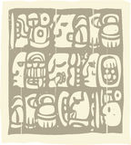 Glyphs Mayan Woodblock Fotografia Stock Libera da Diritti