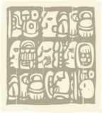 Glyphs mayas Woodblock Foto de archivo libre de regalías