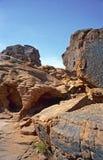 Glyphs vermelhos de Nevada dos montes foto de stock