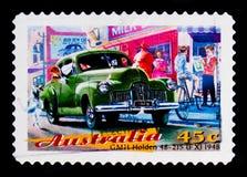 GM霍尔顿48-215模型1948年,澳大利亚经典汽车serie,大约1997年 免版税库存照片