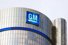 Gm-byggnadshögkvarter i i stadens centrum Detroit Arkivbild