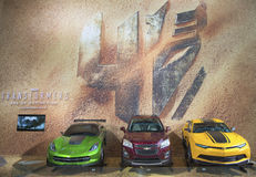 GM cars Chevrolet Camaro, Corvette Stingray C7 concept and Chevrolet Sonic RS Rally Car from new movie Transformers 4 Stock Images