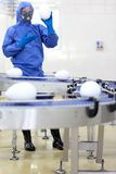 GM0 - engineer showing  xxl size eggs at production line Stock Photography