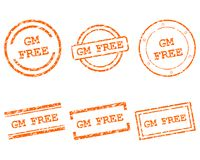 GM free stamps. Detailed and accurate illustration of mM free stamps royalty free illustration