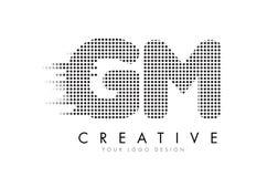 GM G M与黑小点和足迹的信件商标 库存图片
