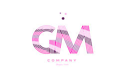 Gm g m alphabet letter logo pink purple line icon template vecto Royalty Free Stock Photos