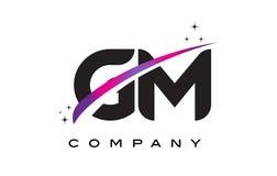 GM G M Black Letter Logo Design with Purple Magenta Swoosh Royalty Free Stock Photos