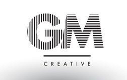 GM G M Black and White Lines Letter Logo Design. Stock Photo