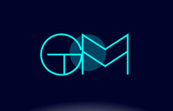 Gm g m blue line circle alphabet letter logo icon template vecto Royalty Free Stock Photo