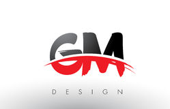 GM G M Brush Logo Letters with Red and Black Swoosh Brush Front Stock Image