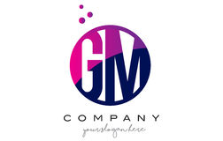 GM G M Circle Letter Logo Design avec Dots Bubbles pourpre Photographie stock libre de droits
