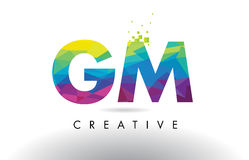 GM G M Colorful Letter Origami Triangles Design Vector. Stock Photos
