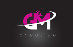 GM G M Creative Letters Design With White Pink Colors Stock Photography