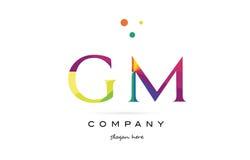 Gm g m  creative rainbow colors alphabet letter logo icon Royalty Free Stock Image