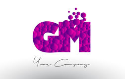 GM G M Dots Letter Logo with Purple Bubbles Texture. Royalty Free Stock Photo