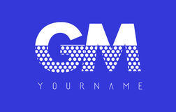 GM G M Dotted Letter Logo Design with Blue Background. Stock Images