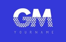 GM G M Dotted Letter Logo Design con el fondo azul Imagenes de archivo