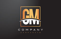 GM G M Golden Letter Logo Design with Gold Square and Swoosh. Royalty Free Stock Images
