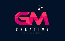 GM G M Letter Logo com baixo conceito cor-de-rosa poli roxo dos triângulos Imagens de Stock