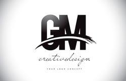 GM G M Letter Logo Design avec le bruissement et course noire de brosse Images stock