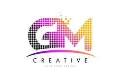 GM G M Letter Logo Design com pontos magentas e Swoosh Foto de Stock Royalty Free