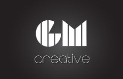 GM G M Letter Logo Design With White and Black Lines. Stock Image