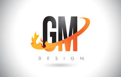 GM G M Letter Logo with Fire Flames Design and Orange Swoosh. Stock Images