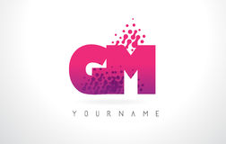 GM G M Letter Logo with Pink Purple Color and Particles Dots Des Royalty Free Stock Photos