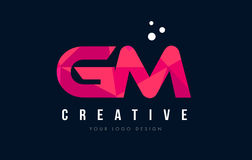 GM G M Letter Logo with Purple Low Poly Pink Triangles Concept Stock Images