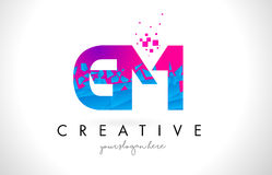 GM G M Letter Logo with Shattered Broken Blue Pink Texture Desig Royalty Free Stock Photos