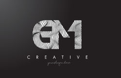 GM G M Letter Logo with Zebra Lines Texture Design Vector. Royalty Free Stock Photos
