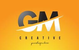 GM G M Letter Modern Logo Design avec le fond jaune et le Swoo illustration libre de droits