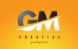 GM G M Letter Modern Logo Design with Yellow Background and Swoo Royalty Free Stock Photo
