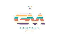 Gm g m line stripes pastel color alphabet letter logo icon templ Stock Photography