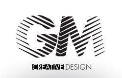 GM G M Lines Letter Design with Creative Elegant Zebra Stock Photo
