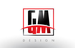 GM G M Logo Letters with Red and Black Colors and Swoosh. Stock Photography