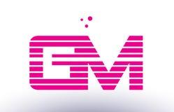 Gm g m pink purple line stripe alphabet letter logo vector templ Royalty Free Stock Photos