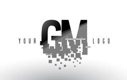GM G M Pixel Letter Logo with Digital Shattered Black Squares Royalty Free Stock Images