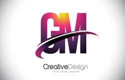 GM G M Purple Letter Logo avec la conception de bruissement Magenta créatif M Photo libre de droits