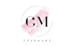 GM G M Watercolor Letter Logo Design with Circular Brush Pattern Stock Images